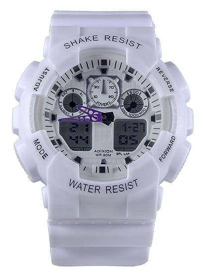 Adixion Deporte blanco redondo dial impermeable reloj digital analógico - para niños y niñas: Amazon.es: Relojes