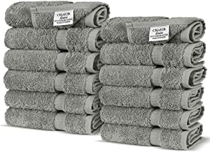 Chakir Turkish Linens Turkish Cotton Luxury Hotel & Spa Bath Towel, Wash Cloth - Set of 12, Gray