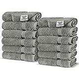 Chakir Turkish Linens 100% Turkish Cotton Luxury Hotel & Spa Wash Cloth-Set of 12, Gray, Washcloth, 12 Count