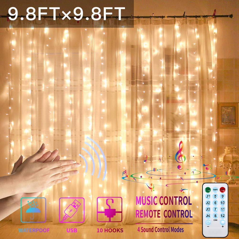 GYTF Curtain Lights with Sound Activated, USB Powered 300 LED Fairy Curtain Lights with Remote,4 Voice Activated Settings & 8 Modes Hanging Lights for Bedroom Wall Decor (Warm White)