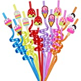 24 Pack Party Favors for Birthday Party Supplies - Ice Cream Straws for Birthday Party Favors Goody Bags Gift Bags, Reusable