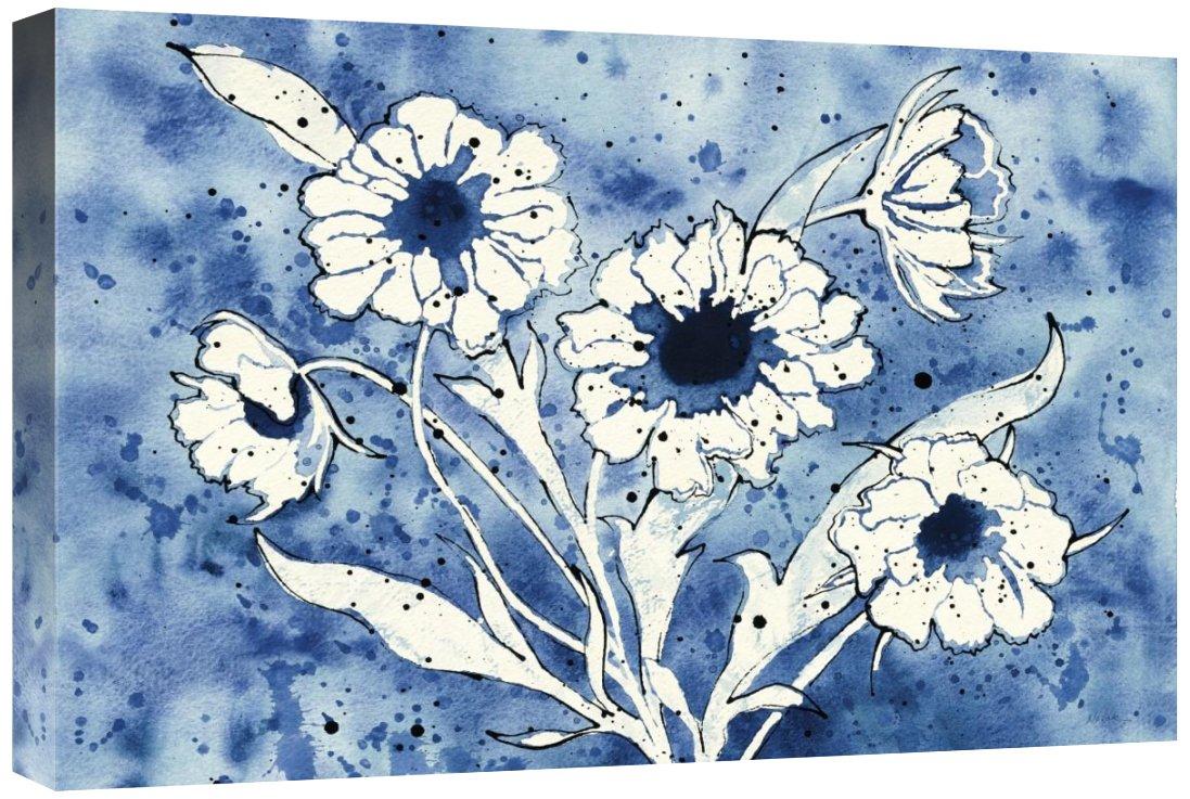 Global Gallery Shirley Novak Batik Flowers Crop Giclee Stretched Canvas Artwork 24 x 16