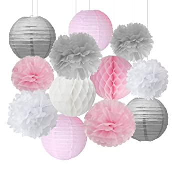 Rosa Grau Weiss Pompoms Deko Baby Dusche Dekoration Party Deko Deko