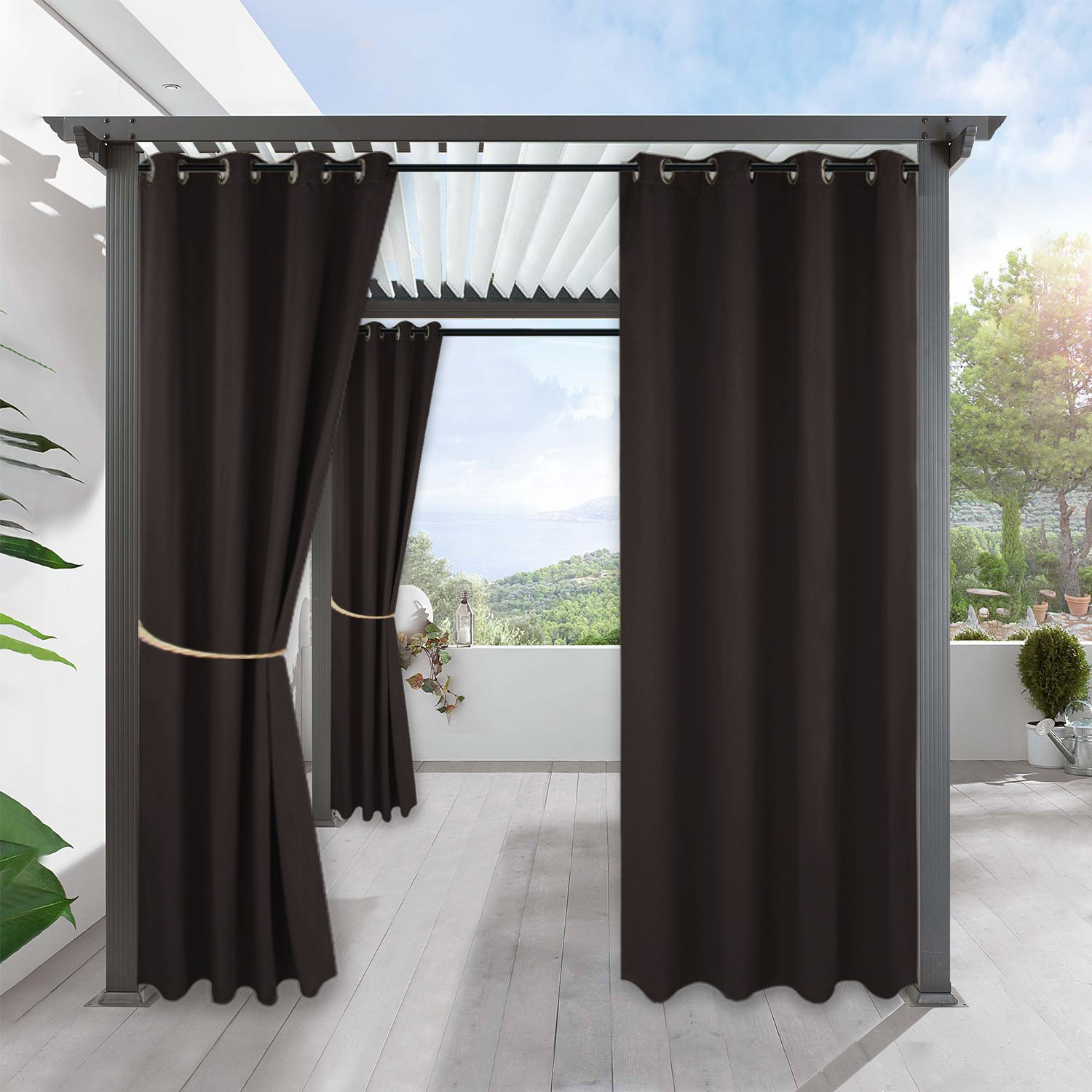RYB HOME Sliding Outdoor Curtain - Home Décor for Lawn & Garden Stain Resistant Water Proof Insulated Curtains Repel Summer Heat & Winter Cold, Single Panel, W 52'' by L 108'', Brown