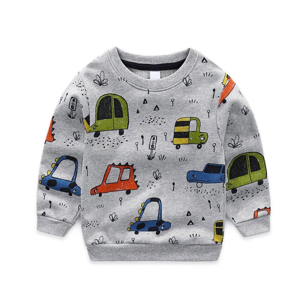 NWAD Boys Car Sweatshirts Light Weight Little Boy Clothes Organic Cotton Crewneck Clothing Long Sleeve Tops (Car Grey, M(5)) by NWAD (Image #1)