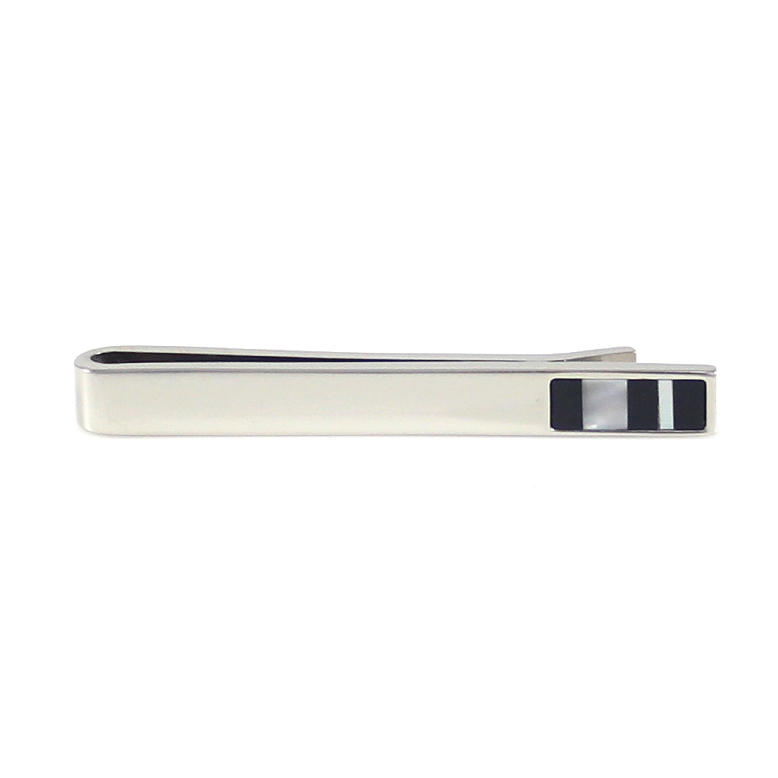 MENDEPOT Classic Rhodium Plated Mother Of Pearl And Onyx Stripes Tie Clip With Gift Box by MENDEPOT