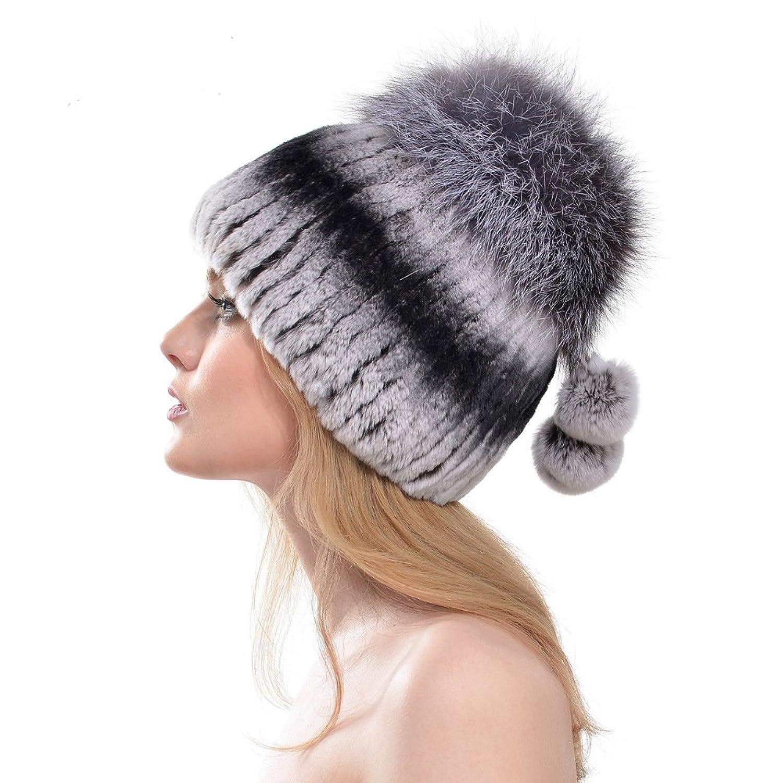 Floseed Damen Der Fuchs Pelzmütze Wintermütze Faux Fur Strick Rex Kaninchen Aus Dicker Wolle Hut