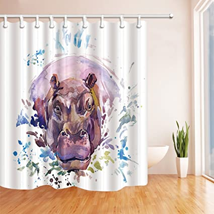 Hippo Shower Curtain Decor Purple Ink Painting White Background For Lovers 70 X