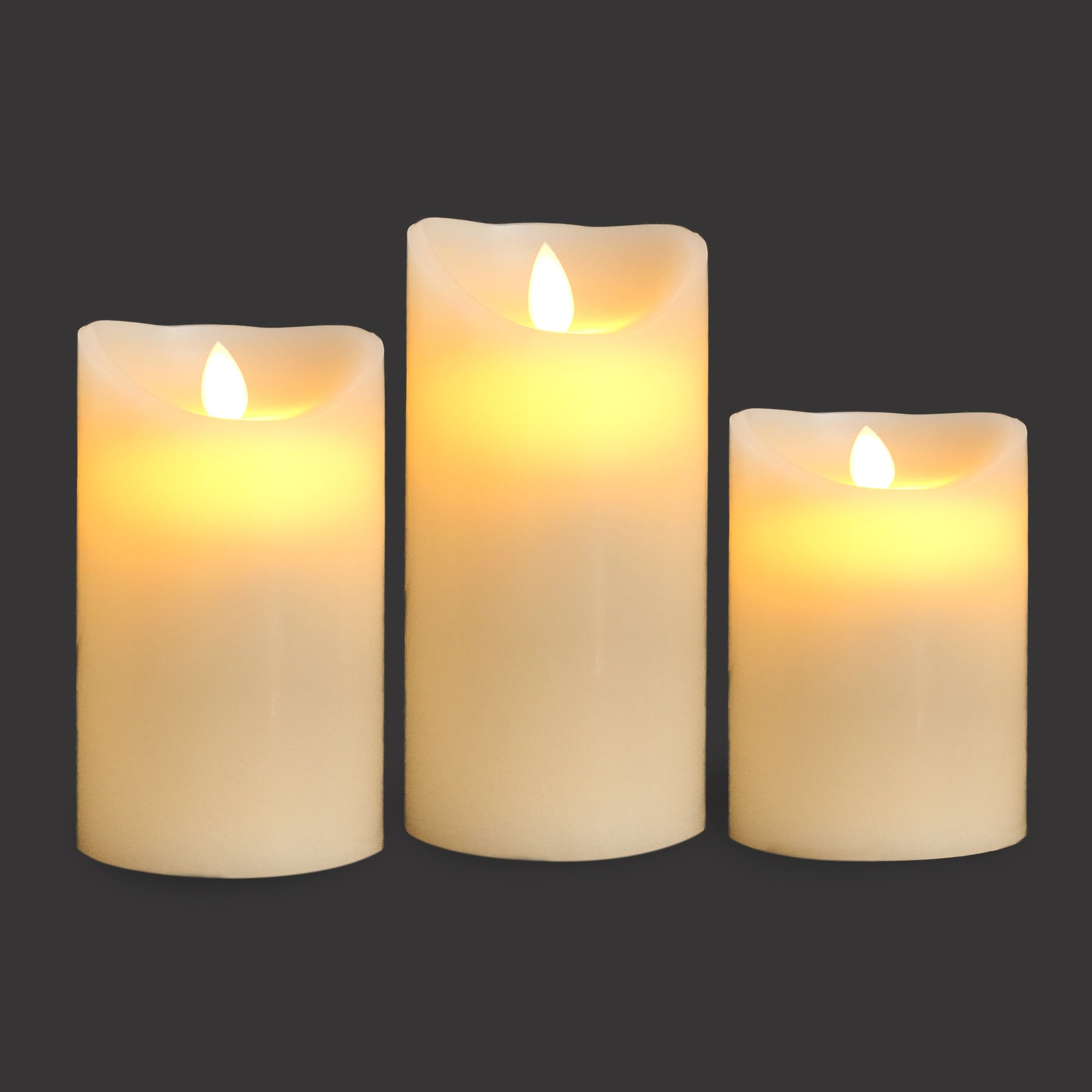 Gideon Set of 3 Flameless LED Candles (4 inch, 5 inch, 6 inch) - Real Wax & Real Flickering Candle Motion - with Multi-Function Remote (On/Off, Timer, Dimmer) - Vanilla Scented, Ivory