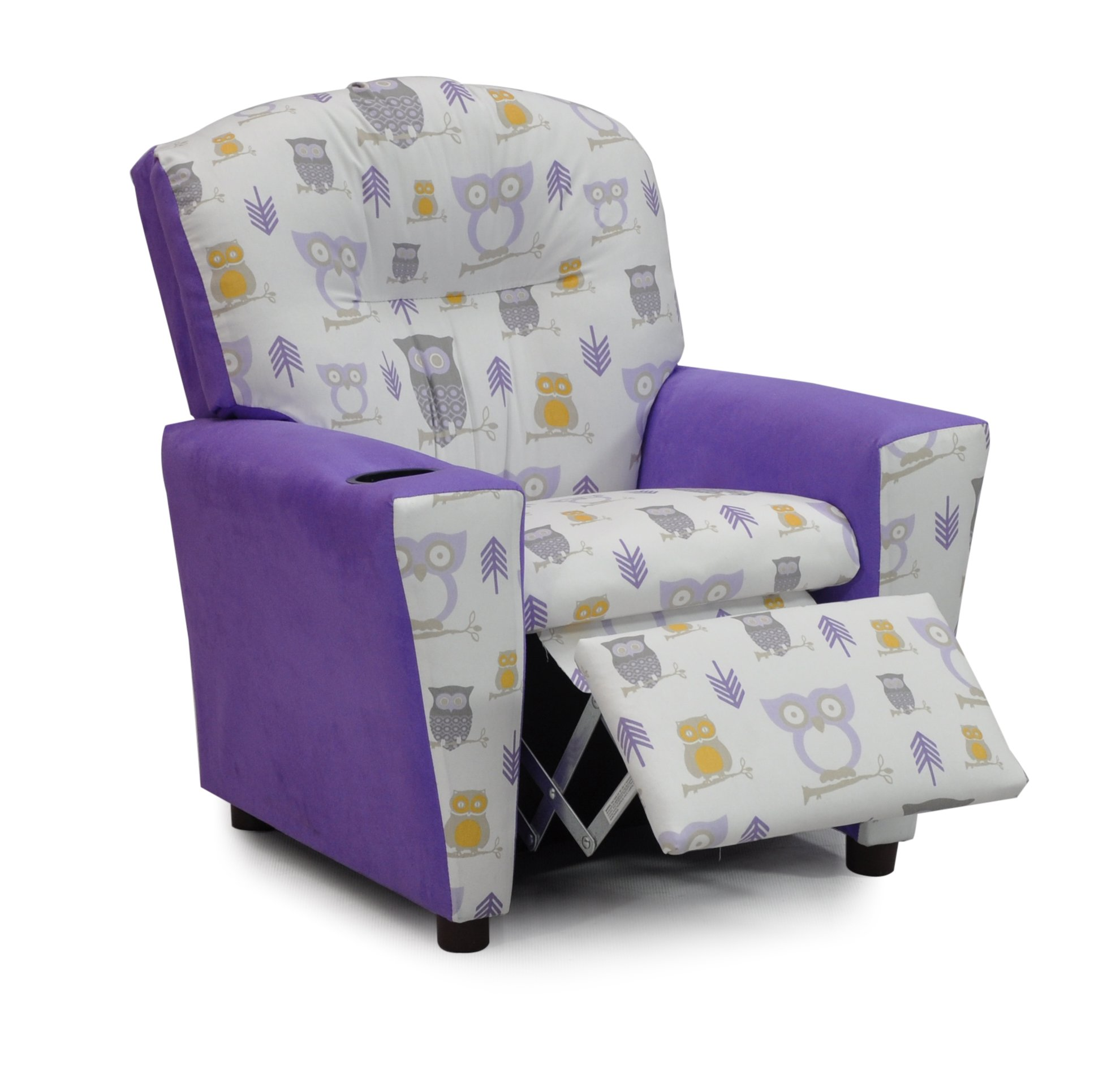 Childrens Upholstered Armchair - Your Child's Favorite Christmas Gift - Kids Recliner with Cup Holders - We Love Owls :) (Modern Owls)