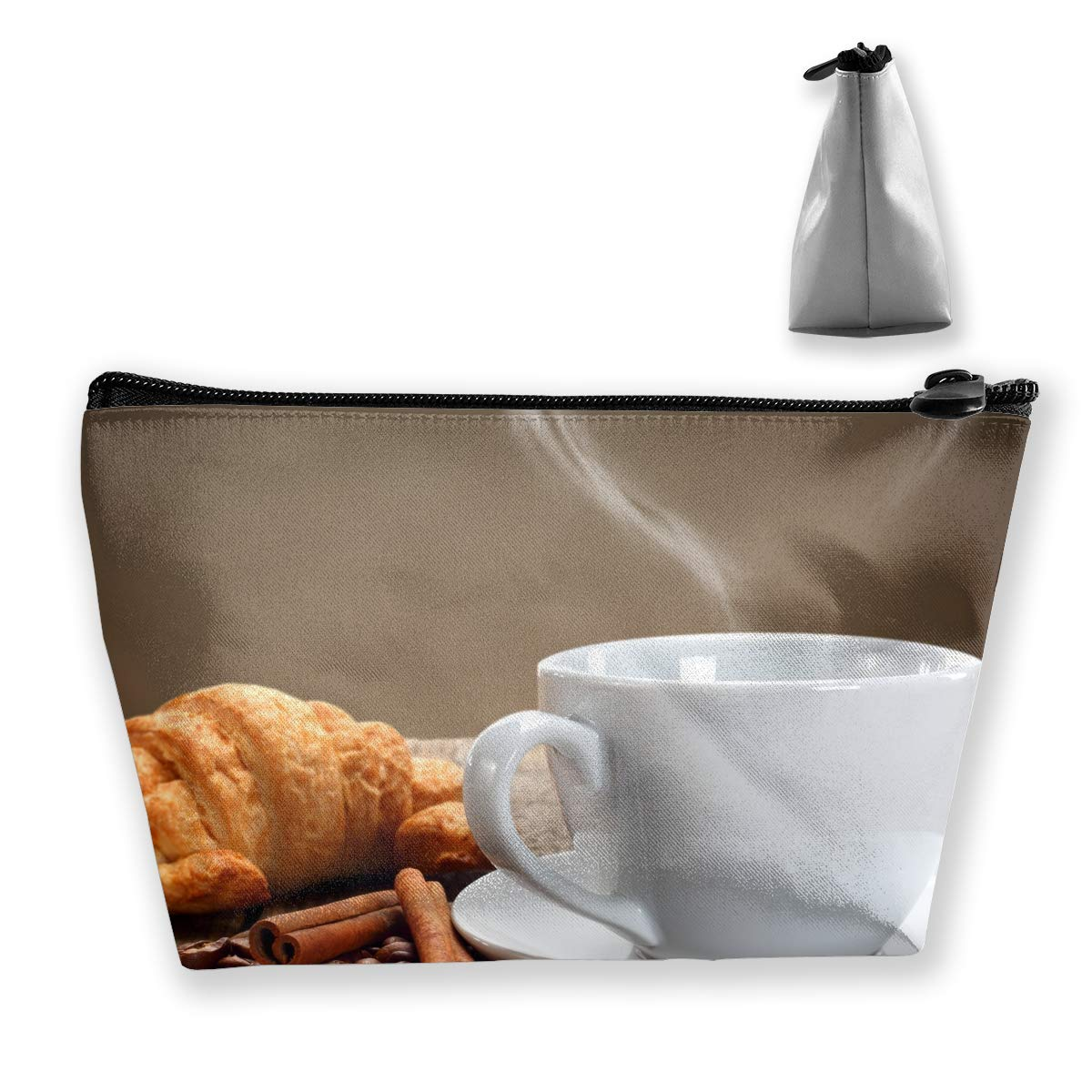 Trapezoid Toiletry Pouch Portable Travel Bag Bread Love Coffee Pen Organizer