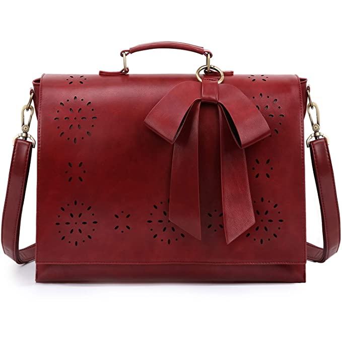 Red briefcase-style bag with bow for teachers