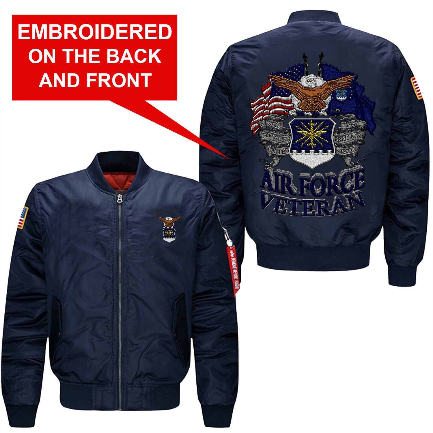 Familyloves U.S AIR Force Veteran Embroidered Jacket (Large, Blue)