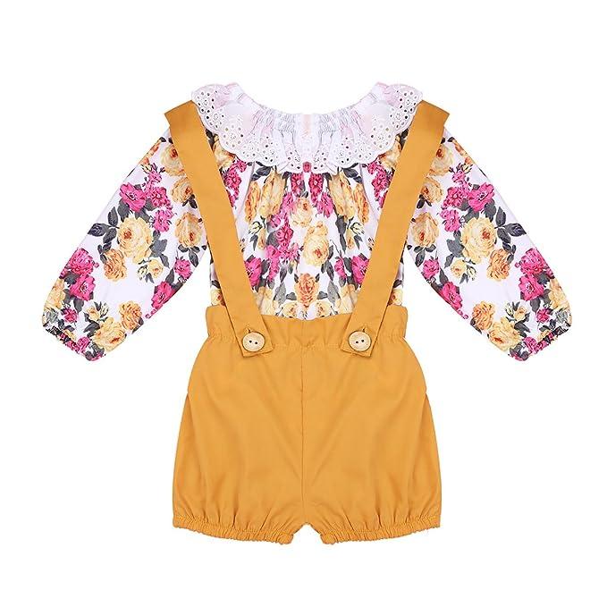 YIZYIF Ropa bebe nina Conjunto Mono Pelele Mameluco Floral y Pantalones con Tirantes: Amazon.es: Ropa y accesorios