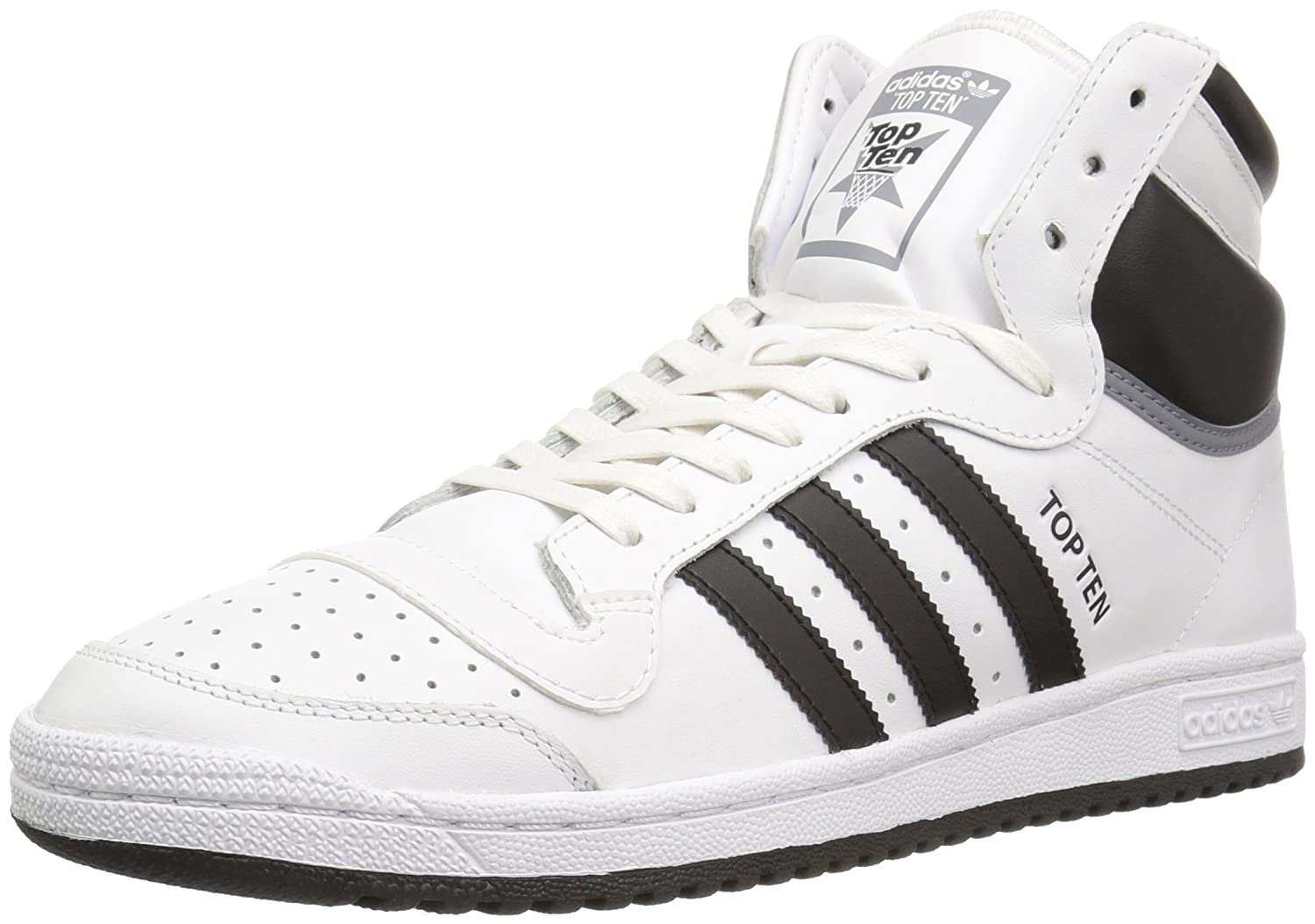 the best attitude c8ede 04696 Amazon.com   adidas Originals Men s Top Ten HI Fashion Running Shoe, White  Black Tech Grey Fabric, ((12 M US)   Basketball