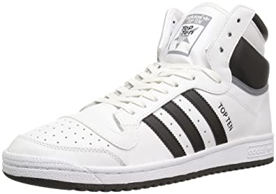 adidas Originals Men's Shoes | Top Ten Hi Fashion Sneakers, White/Black/Tech