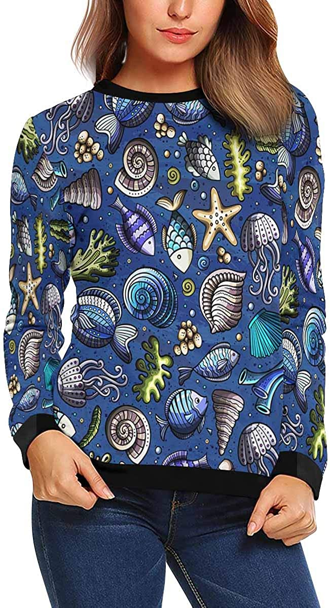 INTERESTPRINT Womens Long Sleeve Sweatshirt Cartoon Cute Sea Life Crew Neck Pullover Tops XS-XL