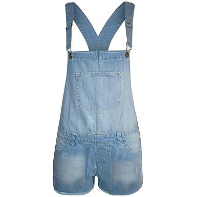 c6b6bf15852 Womens Ladies Frayed Denim Shorts Playsuit Jumpsuit Hot Pants Dungaree  Dress  COLOR  LIGHT WASH