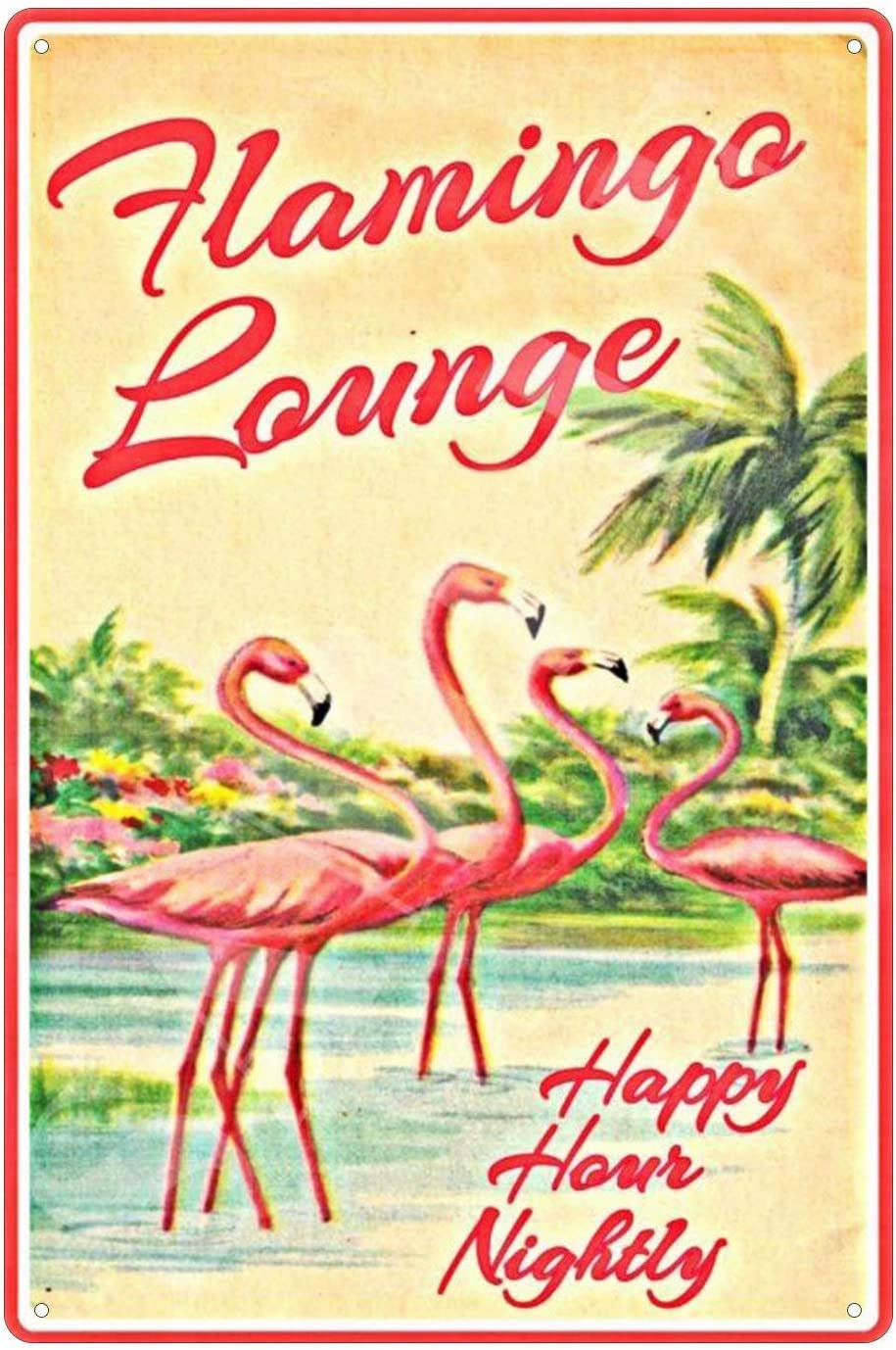 Tin Sign Wall Decor Metal Signs Novelty Pink Flamingo Bar & Grill Retro Vintage Signsative Country Home Gift 12x12 Inches