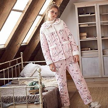 WANG-LONG Ropa De Dormir Batas Mujer Conjunto De Pijamas Señoras Camisones Ropa De Noche Invierno Franela Vellón De Coral Rosa Solapa Caricatura Rebeca Más ...