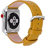 15 Colors for Apple Watch Bands 42mm and 38mm, Fullmosa Yan Calf Leather Watch Replacement Band/Strap/Bracelet for iWatch Series3,Series2,Series1,42mm Yellow