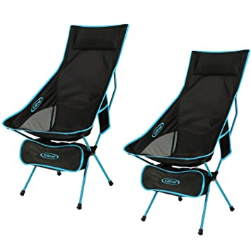 G4free Upgraded Outdoor 2 Pack Camping Chair Portable Lightweight Folding Camp Chairs With Headrest And Pocket High Back High Legs For Outdoor