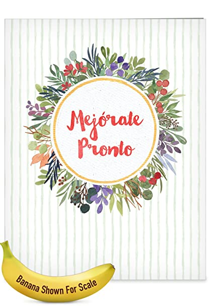 jumbo hilarious get well greeting card mejorate pronto with watercolor flowers surrounding hope - Get Well Greeting Cards