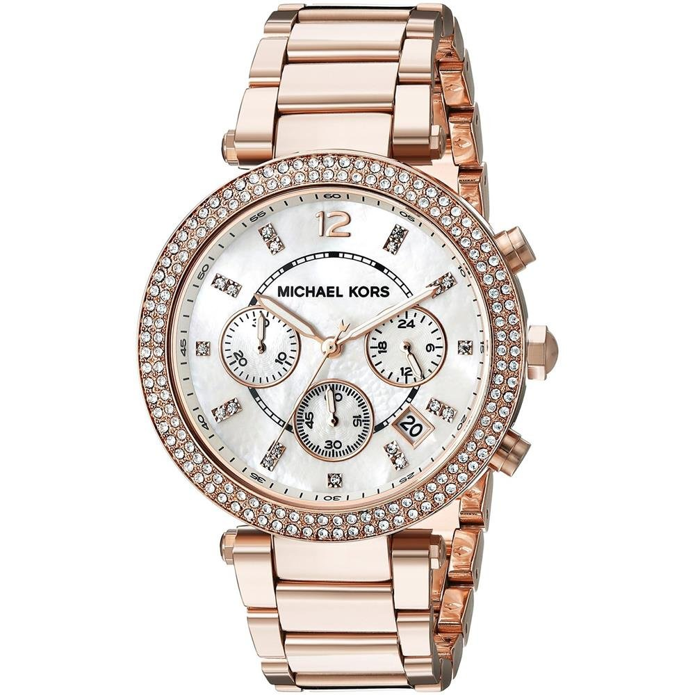 Michael Kors Women's 39mm Rose Goldtone Parker Chronograph Watch
