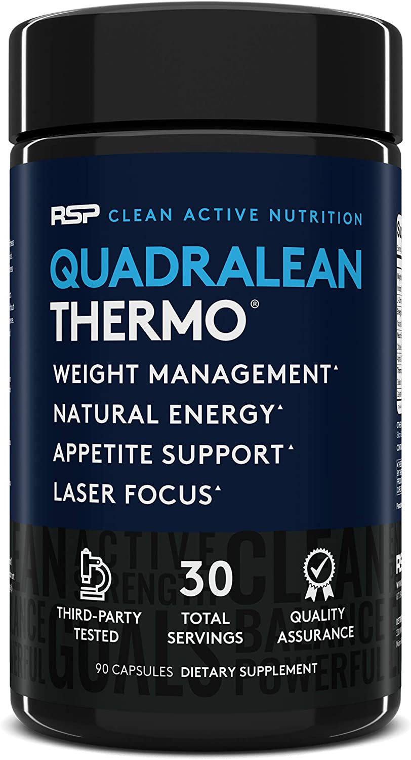 RSP QuadraLean Thermogenic Fat Burner for Men & Women, Weight Loss Supplement, Crash-Free Energy, Metabolism Booster & Appetite Suppressant, Diet Pills, 30 Serv: Health & Personal Care