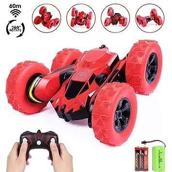 aad9e06f9 SGILE Coche Teledirigido, 2.4GHz Stunt RC Car, 1:28 Doble Lado Rotación de 360  Grados de Alta Velocidad, Juguetes para niños, Rojo: Amazon.es: Juguetes y  ...