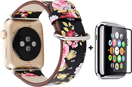 Bands For Apple Watch With Free Tempered Glass Screen Protector 42mm/44mm, Jimbird Soft PU Leather Replacement Strap Wrist Band for Women Nike+, Series 1/2/3/4 (Protector just fit 42mm)