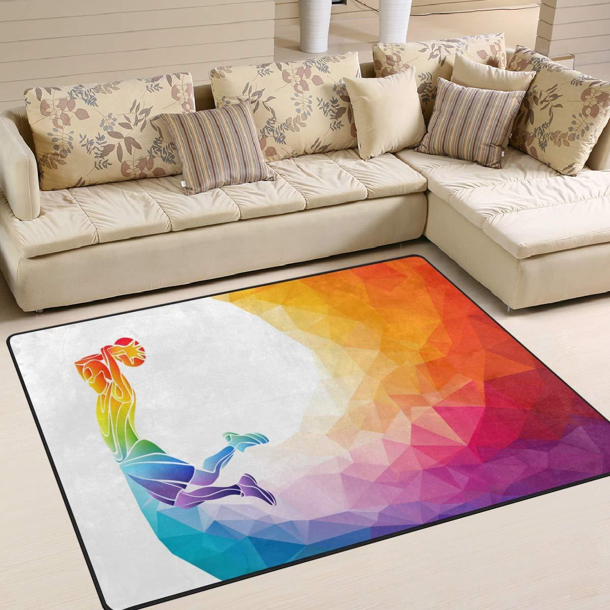 Use7 Geometrische Basketball-Spieler-Teppich für Wohnzimmer, Schlafzimmer, Textil, Multi, 203cm x 147.3cm(7 x 5 feet)