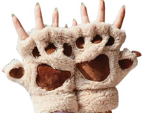 024ab08dc9c329 Amazon | YiyiLai 手袋 レディース くま ミトン 暖かい 裏起毛 防寒 アニマル グローブ かわいい スマホ ふわふわ もこもこ  指なし 秋 冬 肉球 ベージュ | 手袋 通販