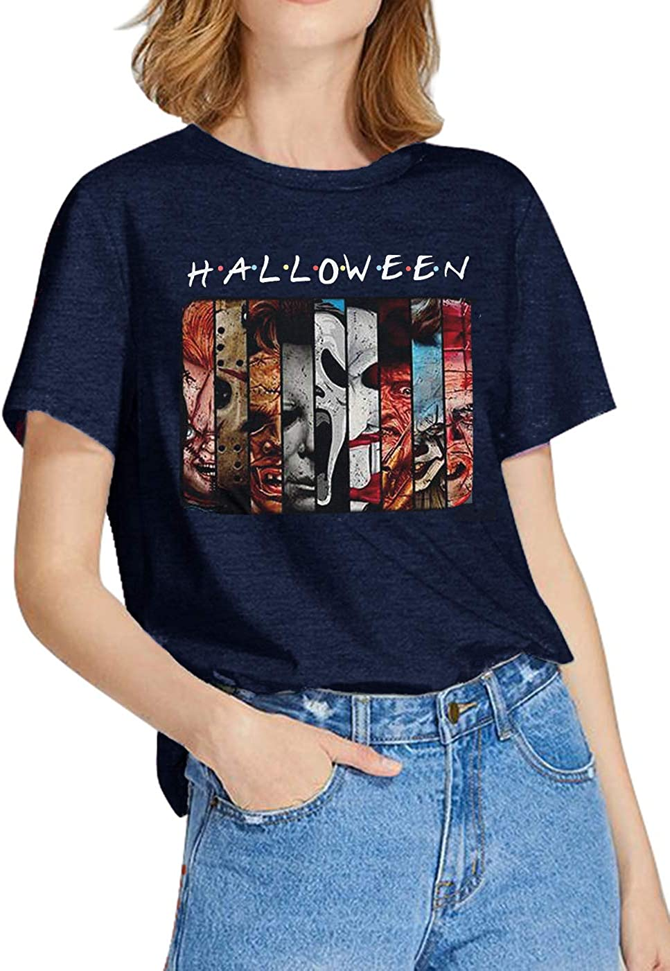 Friends Horror Movie Shirt Women Halloween Horror T-Shirt Novelty Characters Face Graphic Tees Short Sleeve Casual Top