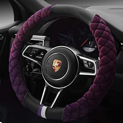 ANTYE Universal Car Steering Wheel Cover Fluffy Size 38cm / 15 Inch Winter Warm Plush Steering Wheel Wrap Cover, Purple: Automotive