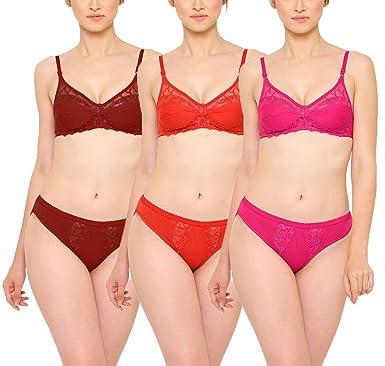 80b865c135 Baremoda Women s Lace Bra Panty Set (Pack of 3)  Amazon.in  Clothing ...