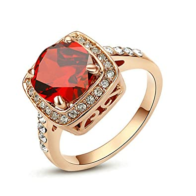 c7aef5be2e03 Yoursfs - Anillo Mujer Chapado en Oro Rosa con Circón Cúbico Rojo   Amazon.es  Joyería