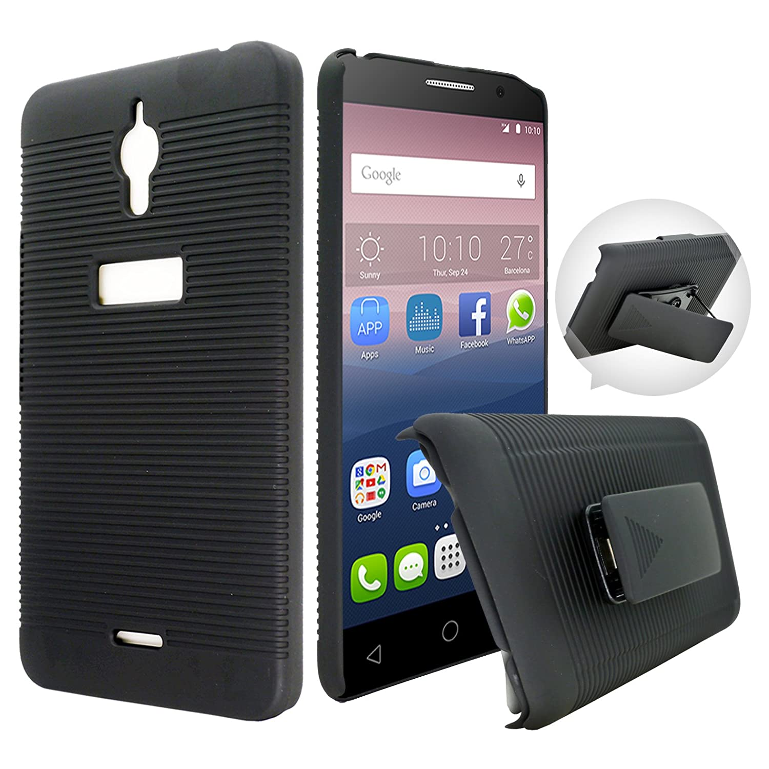 finest selection 0ede7 e6433 Alcatel PIXI 4 6.0 inches(3G) Case, Customerfirst - Heavy Duty Hybrid Armor  Dual Layer Kickstand Belt Clip Holster Combo Rugged Case for Alcatel PIXI  ...
