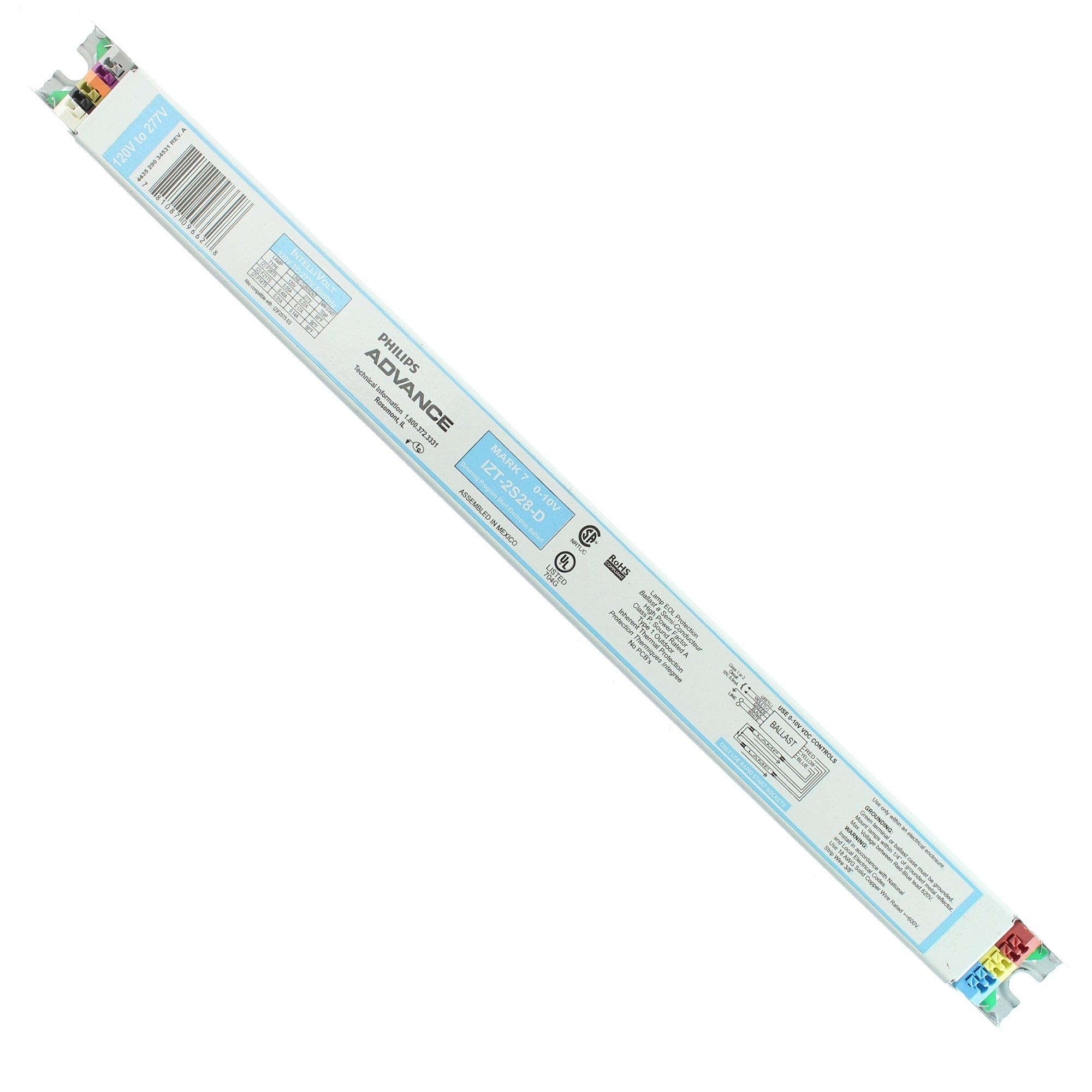 Advance Mark 7 0-10V IZT2S28D - 2 Lamp - F28/F14T5 - 120/277 Volt - Programmed Start - 1.0 Ballast Factor - Dimming