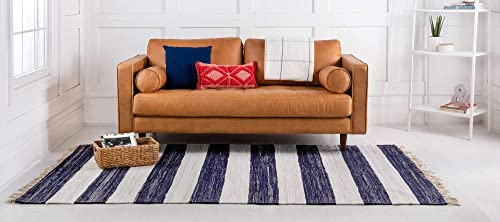Unique Loom Chindi Rag Collection Hand Woven Striped Natural Fibers Navy Blue Area Rug 4 0 x 6 0