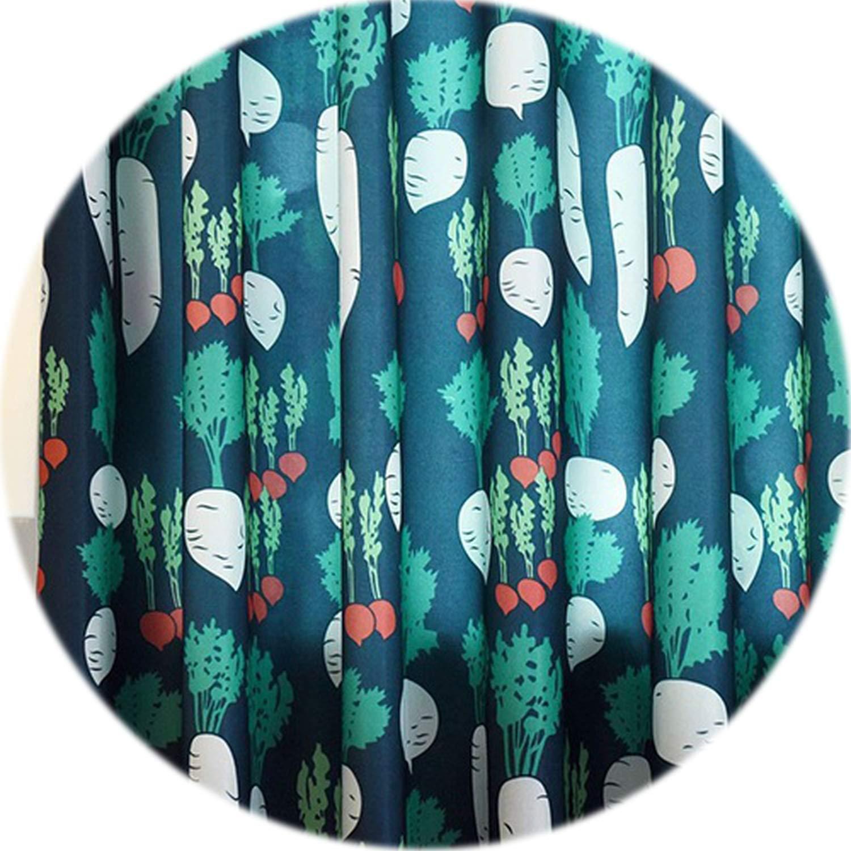 No Buy No Bye Green Plants Cloth Semi-Shades Children Cartoon Lovely Design Curtains Kids Room Home Decorative Textiles Quality Drapes,Dark Blue Thick,W500cm L270cm,3 Tab top