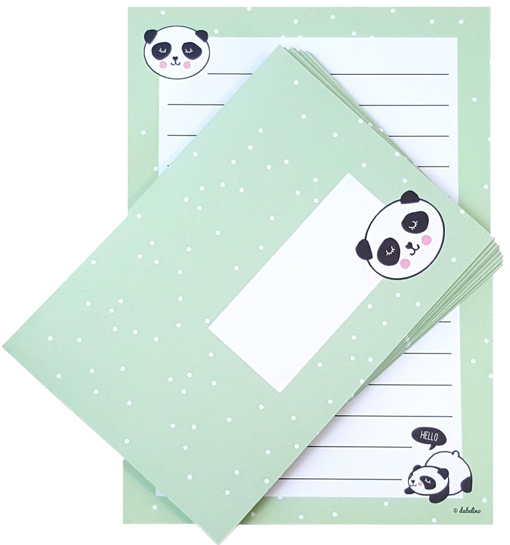 Panda Briefpapier Set für Kinder 25 Blatt Format DIN A5 liniert 10 Briefumschläge Jungen od Mädchen mint grün Amazon Bürobedarf & Schreibwaren