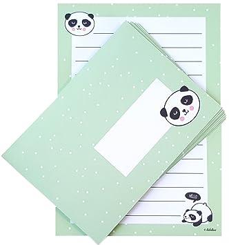 Panda Briefpapier Set für Kinder 25 Blatt Format DIN A5 liniert