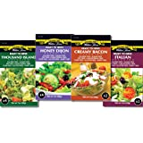 Walden Farms Salad Dressing Packets- Sampler Pack in Ready to Serve Calorie Free Flavors, 11-1 oz Pouches (Thousand Island,Honey Dijon,Creamy Bacon,Italian)