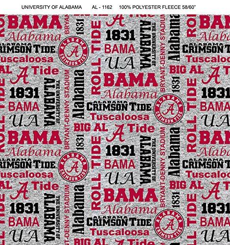 (University of Alabama Fleece Blanket Fabric-Alabama Crimson Tide Heather Grey Fleece Fabric Sold by The Yard )
