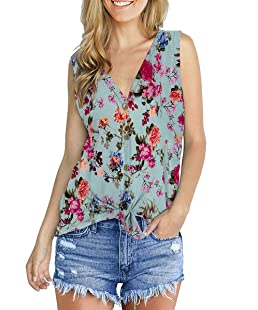 Girls Tank Fashion Tie Knot Tunic Plus Size Loose Fit Tops Floral Lightblue XXL