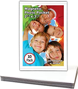 Magtech Magnetic Photo Pocket Picture Frame, White, Holds 2.5 x 3.5 Inches Photos, 10 Pack (12310)