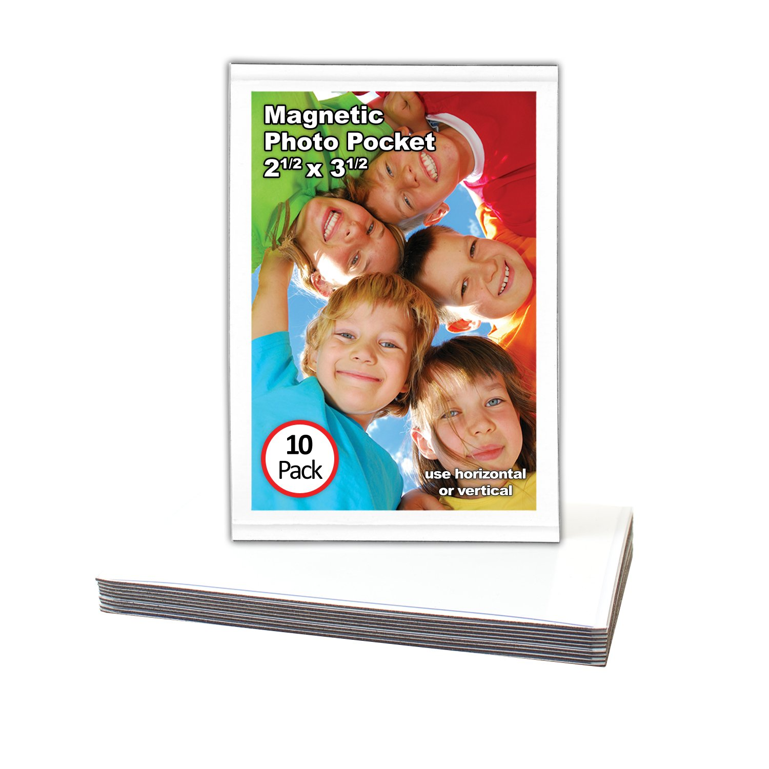 Magtech 12310 Magnetic Pocket Picture Frame Holds 2.5 x 3.5 Photos (10 Pack), White