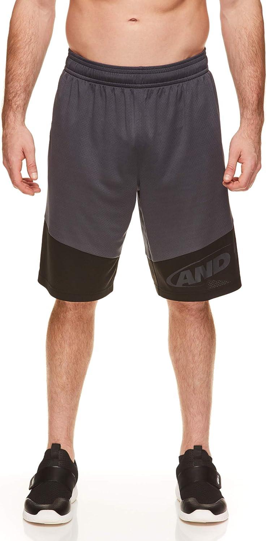 AND1 Mens Basketball Gym Fitness /& Running Shorts with Elastic Waistband /& Pockets Asphalt Training Ebony Black X-Large