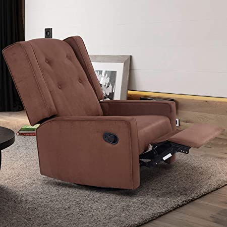 Giantex Swivel Gliding Recliner Rocker Chair Suede Tufted Upholstered Glider for Nursery, Study and Living Room